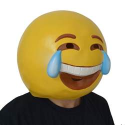 Emoji Mask Latex Smile Crying Emoji Mask Pgm H16052 Partygears