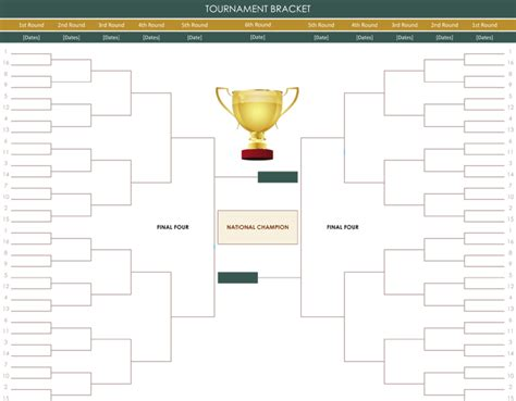 word bracket template 6 printable tournament brackets templates for word and excel