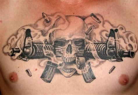 tribal gun tattoo designs professional skull tattoos designs m16 skull by pisopez