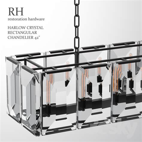 Chandelier Restoration Hardware 3d Models Ceiling Light Harlow Crystal Rectangular