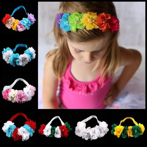 beautiful flower headwear baby elastic retail flower headband six chiffon flower with drill