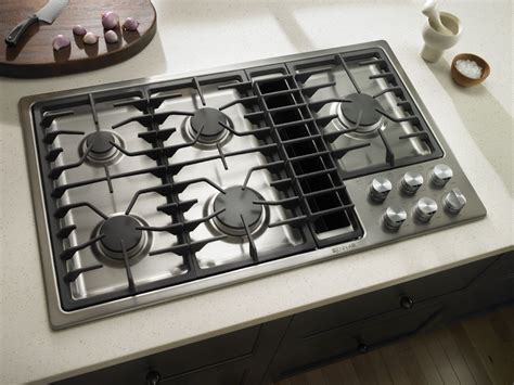downdraft ventilation for cooktops jenn air kitchen with stainless steel gas cooktop with