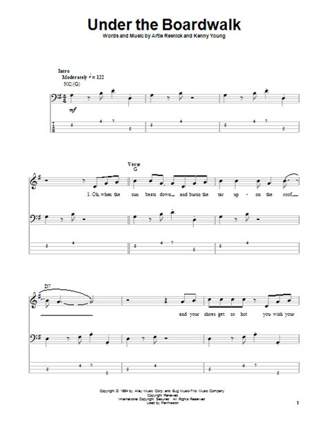 printable lyrics to under the boardwalk under the boardwalk bass guitar tab by the drifters bass