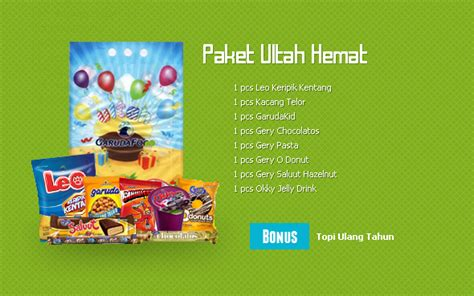 Paket 5 Pcs Ruby 3 Bonus meriahkan pesta ulang tahun bersama garudafood idjo zone