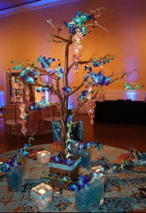 Blue orchid centerpiece   wedding shenanigans   Blue