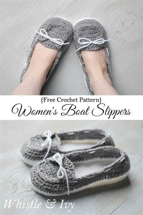 how to crochet womens slippers women s crochet boat slippers whistle and