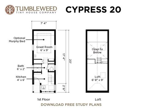 tiny home floorplans cypress 20 tumbleweed tiny house