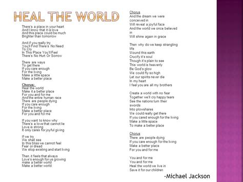 testo heal the world testo heal the world di michael jackson 28 images