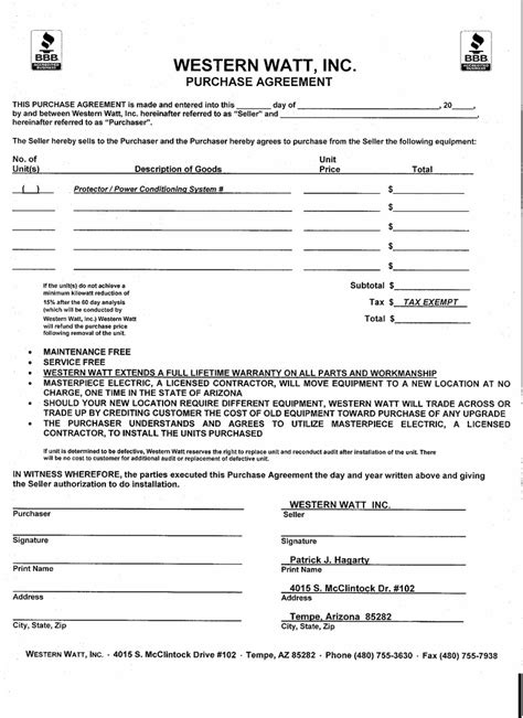 Voetstoots Sale Agreement Template purchase agreement western watt inc