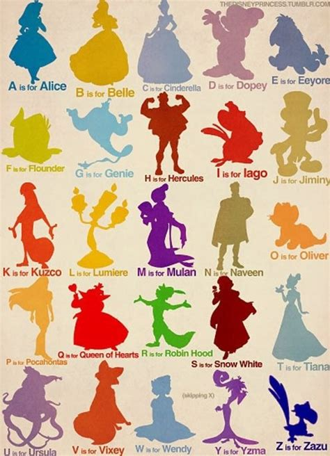 Disney Character Letter Picture this is a clever alphabet with disney characters the exles for g and u however could be