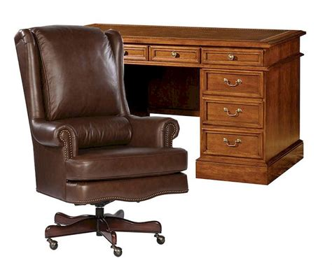 Office Set W Leather Top Pedestal Desk By Hekman He Office Desk Leather Top