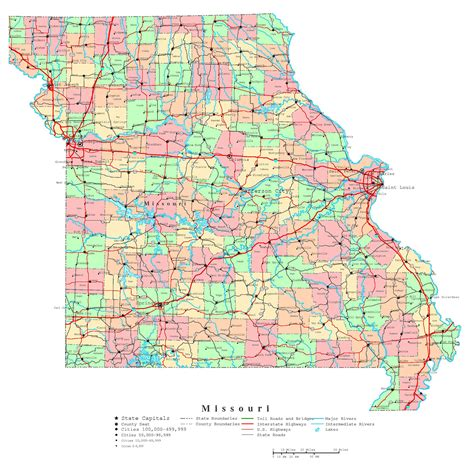 missouri on a map of the usa large detailed administrative map of missouri state with