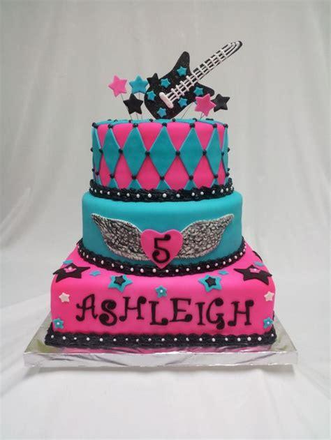 rockstar girl cake   purple black  yellow party ideas dance party birthday