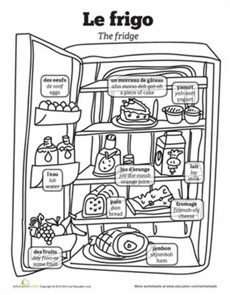 coloring pages with french words french food vocabulary worksheet education com