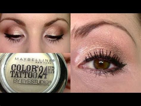 maybelline color tattoo rose gold eyeshadow tutorial gold pearl pink