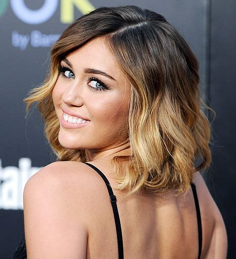 off center part hairstyles medium length wavy ombre bob haircut with an off center