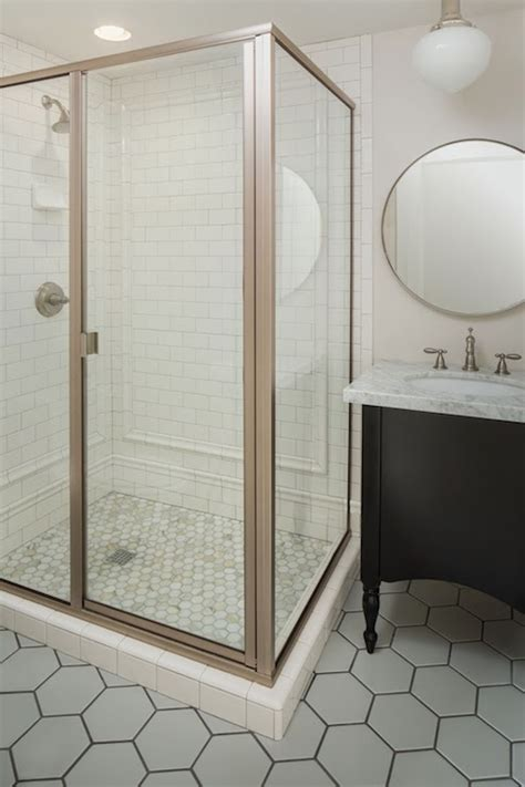 hex shower floor contemporary bathroom white gold