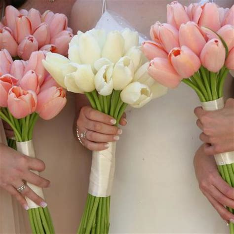 Wedding Bouquet Tulips by Bouquet Bridal White And Pink Tulips