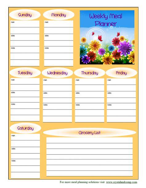 printable meal planner free printable weekly meal calendar template 2016