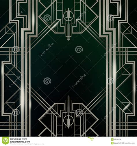 silver symbolism in the great gatsby gatsby art deco background silver stock illustration