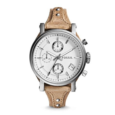 Jam Wanita Fossil Es 3625 Original original boyfriend chronograph leather bone es3625