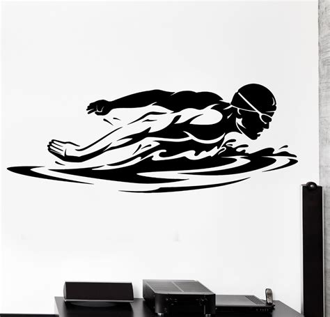 Swim Wall Decal Sport Swim Swimming Swimmer Butterfly Stroke Mural Wall Sticker Kids Room Artist S Wall Mural Template And Price Sheet