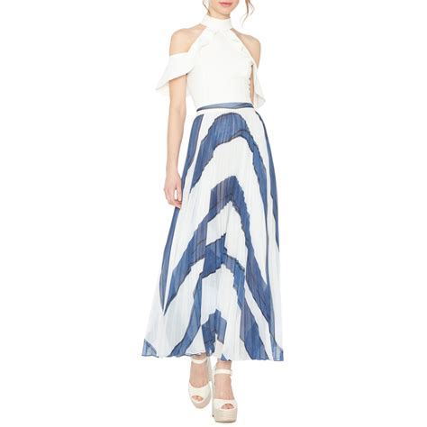 shannon asymmetric pleated maxi skirt evachic