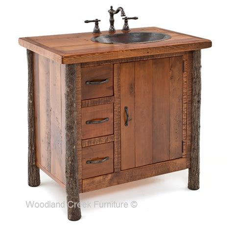 Cabin Vanity by Hickory Log Vanity Rustic Vanities Cabin Lodge Vanity