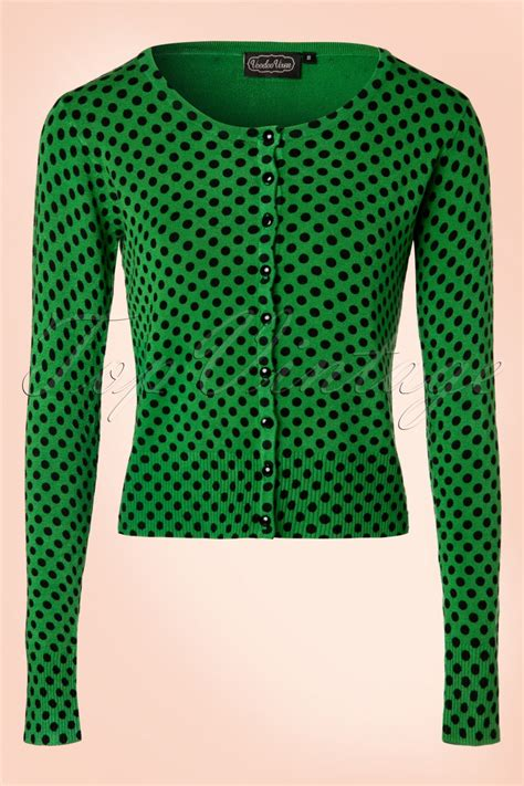 Baju Retro Polkadot 50s wylie polkadot cardigan in green