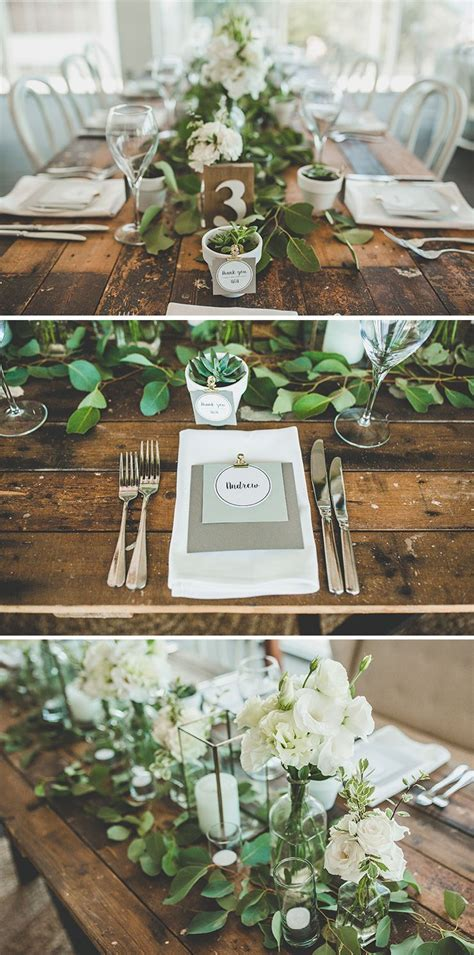 Rustic green and white wedding reception with succulent
