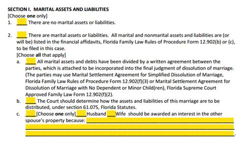 Divorce Section by Form 12 901b2 Dissolution Of Marriage With Property But