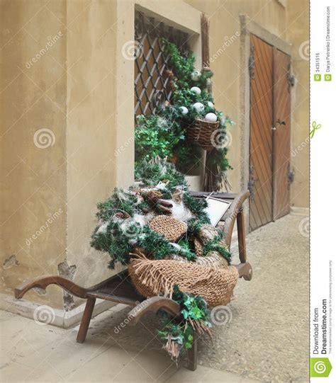 Row Home Decorating Ideas retro wheelbarrow with christmas decorations stock photo