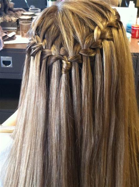 waterfall braid  straight hair  rachel