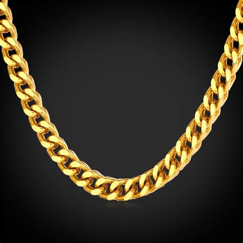Thick Cuban Gold Chain For Men Necklace With 18K Real Gold Plated 2015 Punk For Men Chain Gold