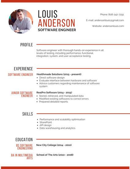 Photo On Resume by R 233 Sum 233 Templates Canva