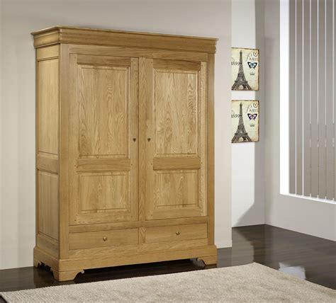 armoire chene massif 2 portes armoire 2 portes 2 tiroirs hugo en ch 234 ne massif de style