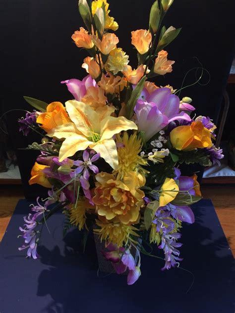 mixed spring flower arrangement in vase achica spring mix cemetery center vase shops vase and spring