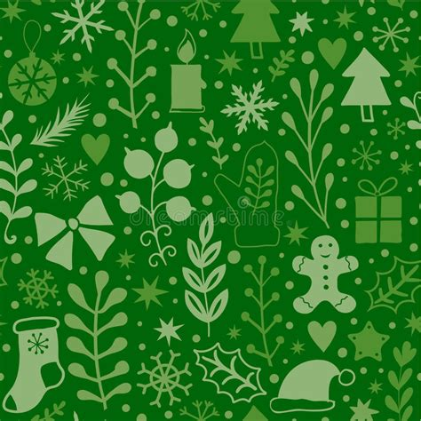 classic new year background merry seamless pattern green plants happy new