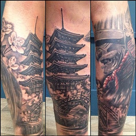 japanese landscape tattoo designs adam pekr art progress on sam s japanese leg sleeve