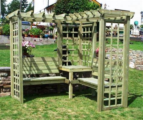 avon corner timber pergola with benches and trellis 163 549 99