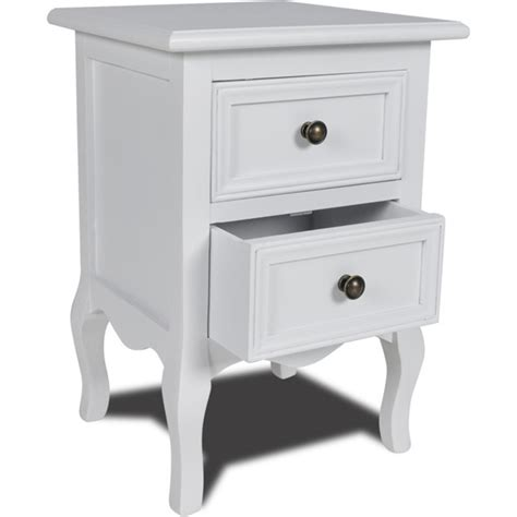 white nightstand with wood drawers 2 drawer mdf wood bedside table nightstand in white buy