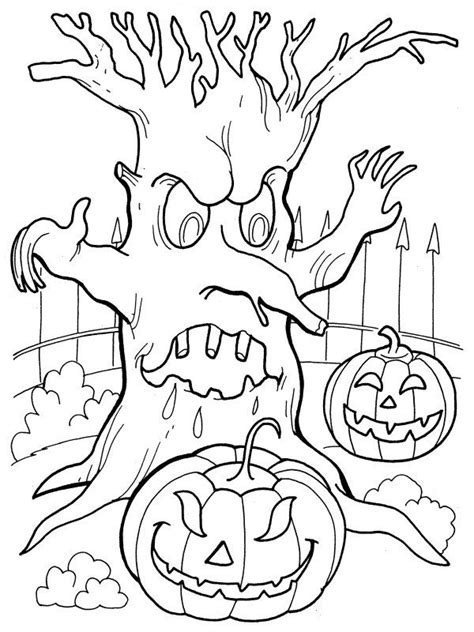 spooky pumpkin coloring pages 274 best cards halloween houses trees fences images
