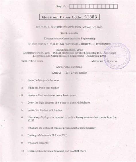 ec digital electronics  june  question paper