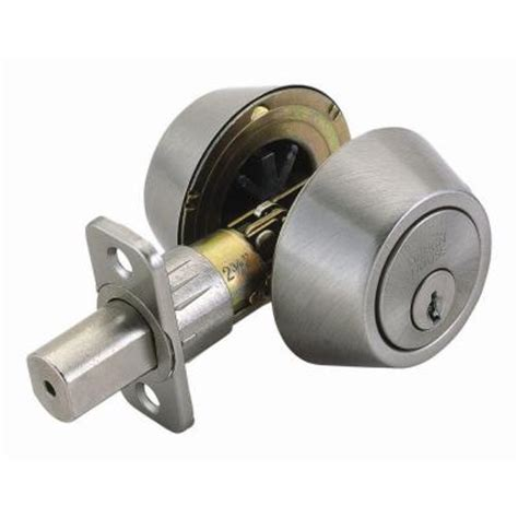 Cylinder Lock Home Depot by Defiant Cylinder Satin Nickel Deadbolt Dlx22 The