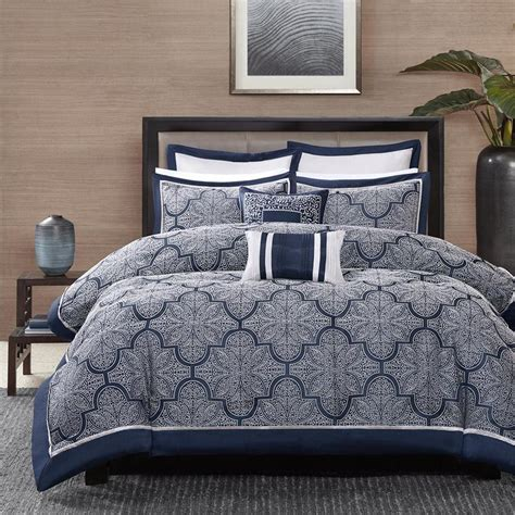 Navy King Bedding by Beautiful Modern Blue Navy Silver Grey White