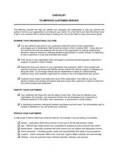 customer service template checklist to improve customer service template sle