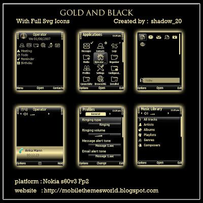 gold themes download mobile phone tool download gold and black theme fp2 s60v3
