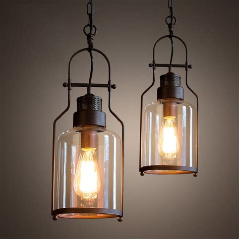 tarrice industrial 1 light rust metal glass lantern