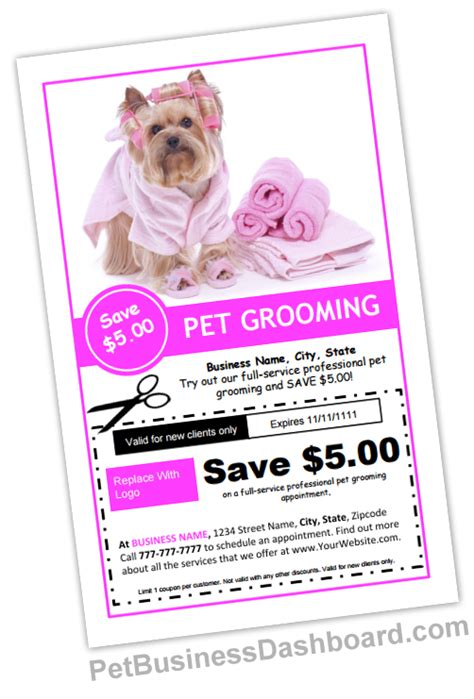 free pet card templates grooming business templates