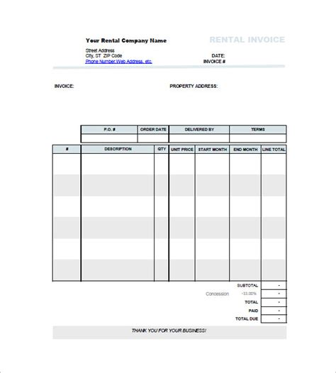 Car Rental Invoice Template Hardhost Info Rent Invoice Template Pdf